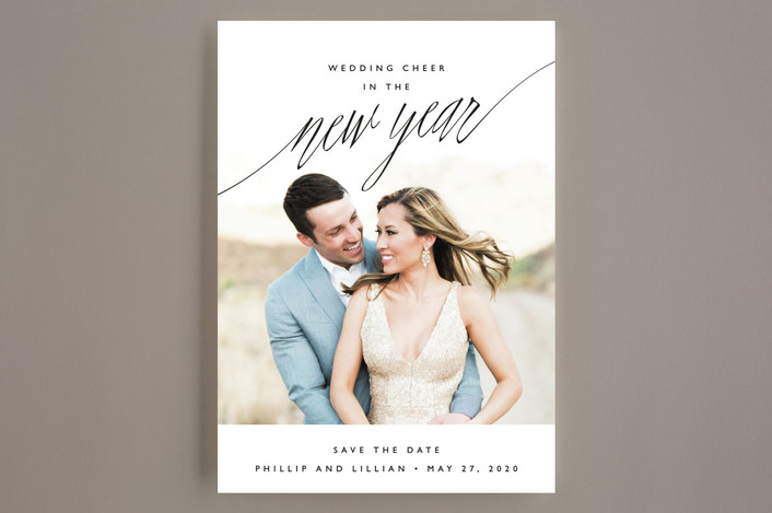 """New Adventures"" - Modern Save The Date Cards in Onyx by Oscar & Emma."