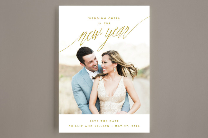 """New Adventures"" - Modern Save The Date Cards in Gold by Oscar & Emma."