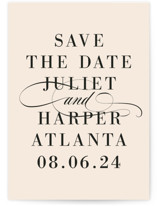 This is a pink save the date by Lori Wemple called Icon with standard printing on signature in standard.