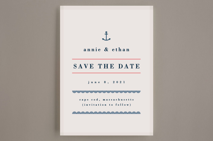 """""""New England Seaside"""" - Beach, Destination Save The Date Cards in Sun Bleached by Yeah Papers."""