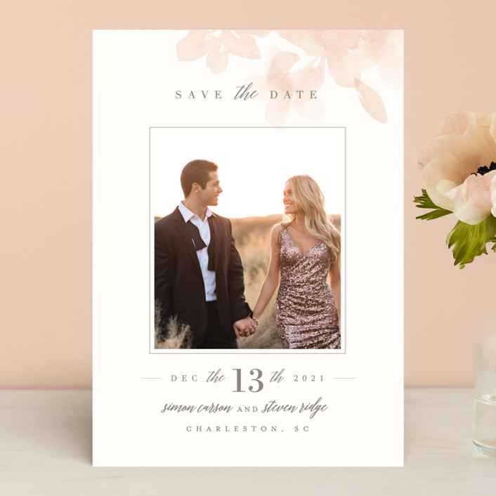 """Formal Frame"" - Save The Date Cards in Mist by Lori Wemple."