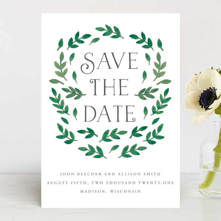"""Painted Leaves"" - Save The Date Cards in Leaves by Katharine Watson."