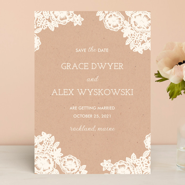 """""""Lace and Kraft"""" - Rustic Save The Date Cards in Midnight by Katharine Watson."""