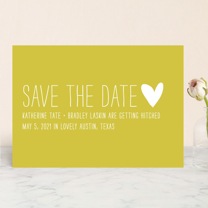 """""""Passing Notes"""" - Whimsical & Funny, Simple Save The Date Cards in Mustard by annie clark."""