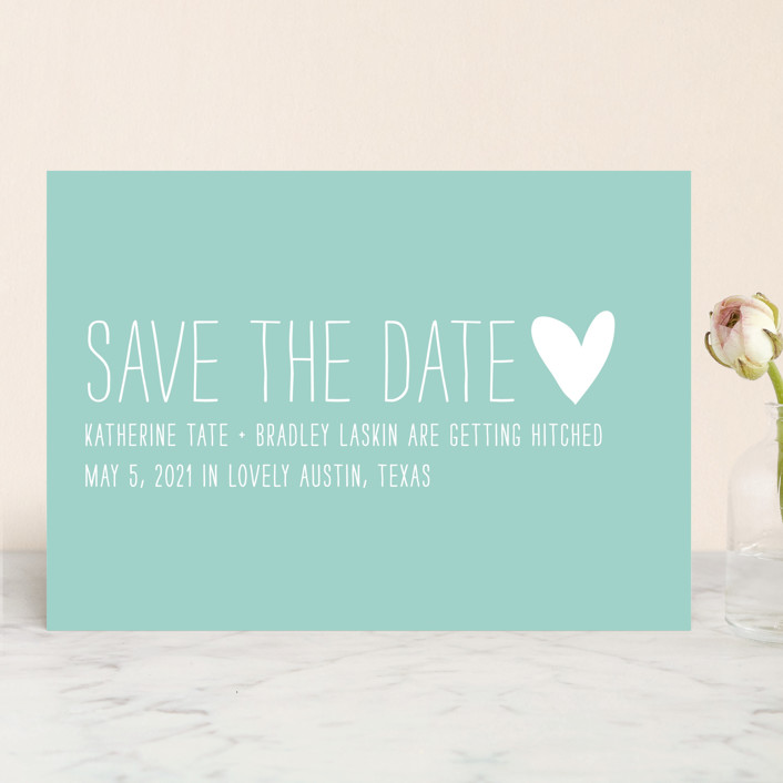 """""""Passing Notes"""" - Modern Save The Date Cards in Pool by annie clark."""