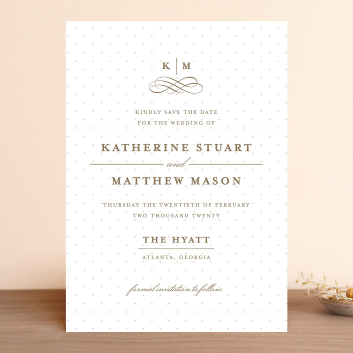 """A Glamorous Affair"" - Preppy Save The Date Cards in Golden by Kristen Smith."
