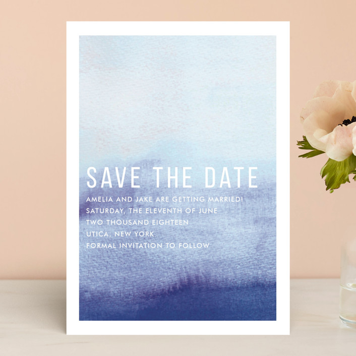 """""""Ombre"""" - Save The Date Cards in Indigo by Dean Street."""