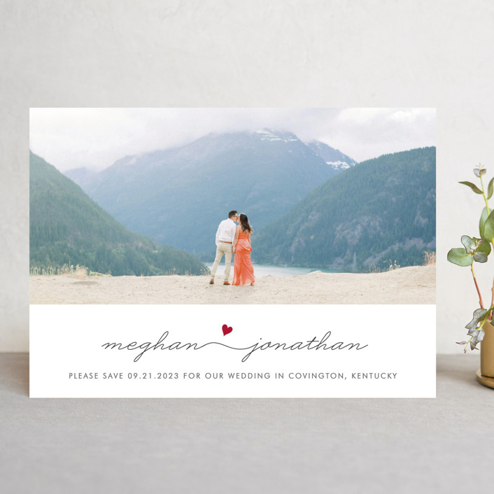 """""""Love Connection"""" - Save The Date Cards in Hot by Kim Dietrich Elam."""