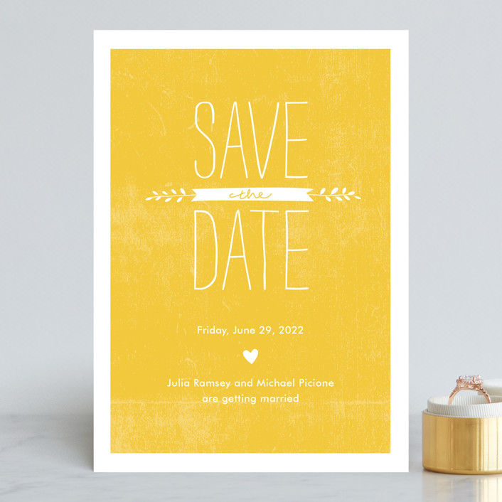 """""""Quite Simply"""" - Rustic Save The Date Cards in Sunflower by Robin Ott."""