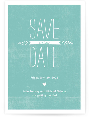This is a portrait rustic, blue Save the Dates by Robin Ott called Quite Simply with Standard printing on Signature in Classic Flat Card format.