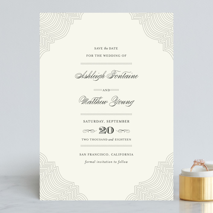 """Splendorous"" - Vintage Save The Date Cards in Cream by Design Lotus."