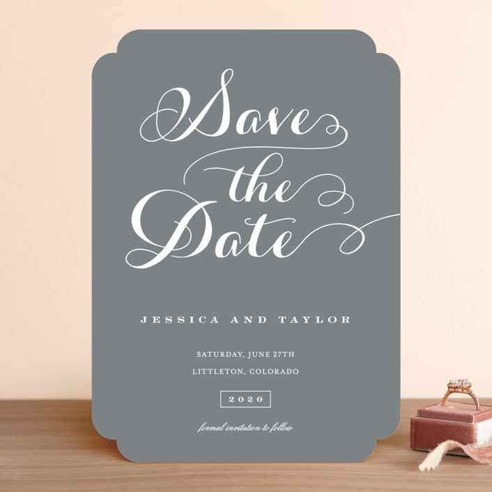 """Just Lovely"" - Save The Date Cards in Chalk by Sara Hicks Malone."