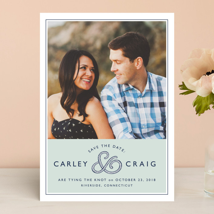 """Rope Ampersand"" - Beach, Simple Save The Date Cards in Seafoam by Jill Means."