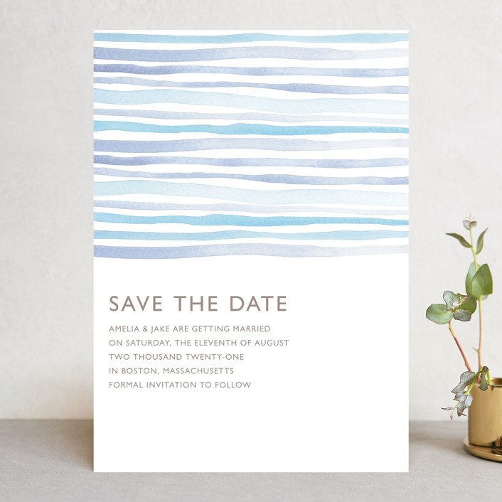 """""""Horizon"""" - Save The Date Cards in Light Cornflower by Dean Street."""