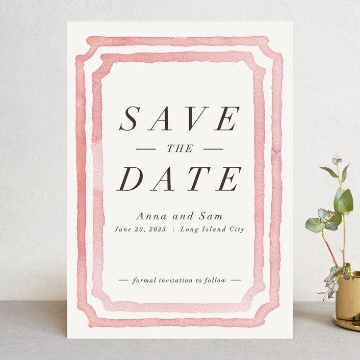 """Watercolor Frame"" - Bohemian Save The Date Cards in Coral by Laura Condouris."