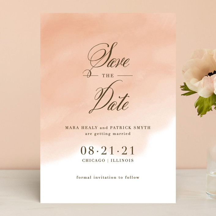"""""""Watercolor Wash"""" - Save The Date Cards in Peach by Lehan Veenker."""