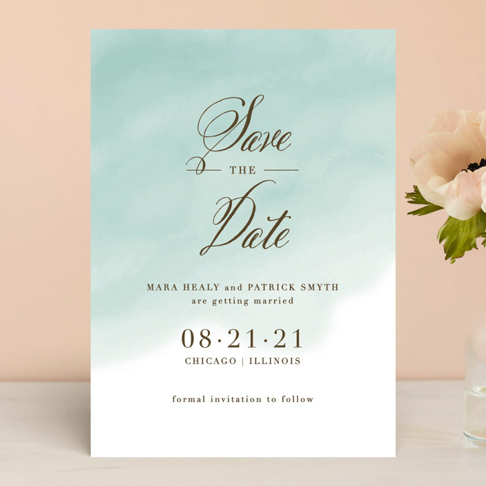 """Watercolor Wash"" - Save The Date Cards in Peach by Lehan Veenker."