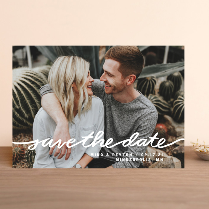 """""""Stringed"""" - Full-Bleed Photo, Modern Save The Date Cards in Lily by Moglea."""