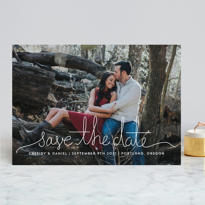 """""""Revelry"""" - Bohemian Save The Date Cards in Lily by Design Lotus."""