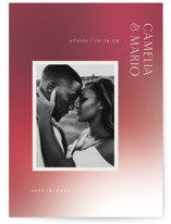 This is a red save the date by Lori Wemple called gloss with standard printing on triplethick in standard.