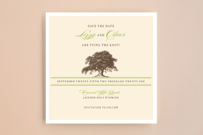 """Oak Tree"" - Rustic Save The Date Cards in Cream by annie clark."