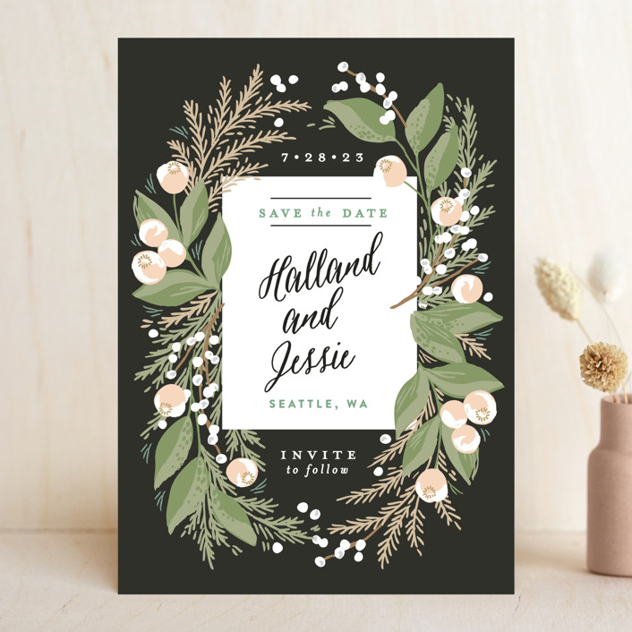 """""""Rustic Floral Fern"""" - Save The Date Cards in Charcoal by Alethea and Ruth."""