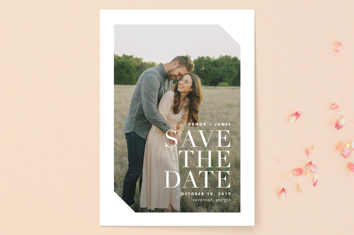 """Mix"" - Modern Save The Date Cards in Cotton by Lauren Chism."