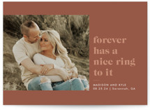 This is a brown save the date by Sarah Brown called Nice Ring with standard printing on pearlescent in standard.