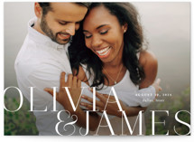 This is a white save the date by Lauren Chism called This Couple with standard printing on smooth signature in standard.