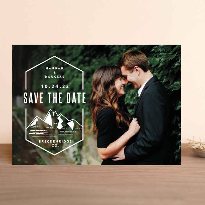 """Modern Rusticism"" - Save The Date Cards in Snow by Jessica Ogden."