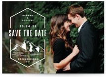 This is a white save the date by Jessica Ogden called Modern Rusticism with standard printing on smooth signature in standard.