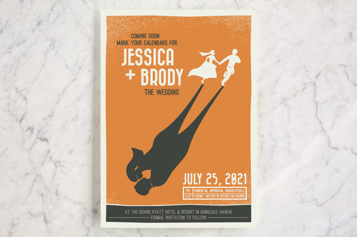 """Retro Movie Poster"" - Save The Date Cards in Tangerine by bumble ink."
