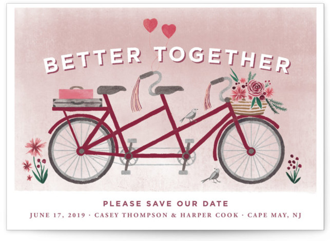 This is a landscape offbeat, colorful, red Save the Dates by Laura Moyer called In Tandem with Standard printing on Signature in Classic fold over (blank inside) format. This illustrated save the date is fresh, dreamy, and perfect for a ...