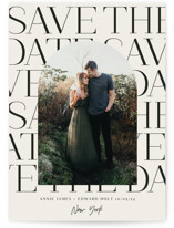 This is a beige save the date by Baumbirdy called Modern Frame Type with standard printing on signature in standard.