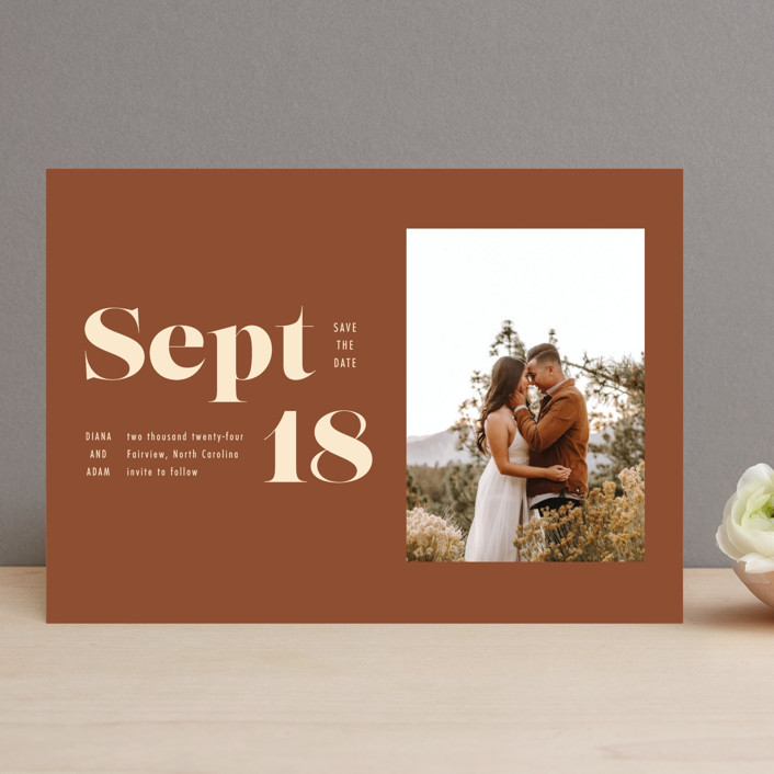 """""""Bold Print"""" - Save The Date Cards in Rust by April Astudillo."""