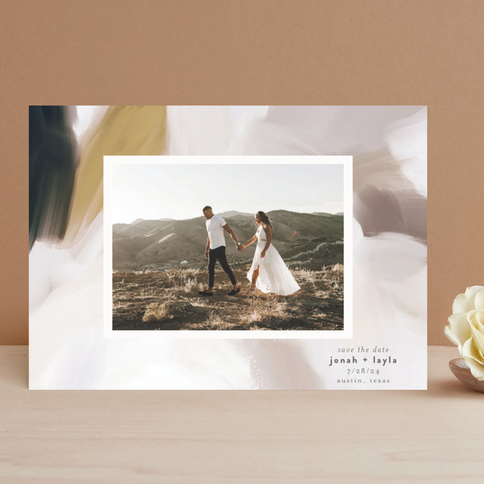 """""""Painted Romance"""" - Save The Date Cards in Harvest by Melanie Severin."""