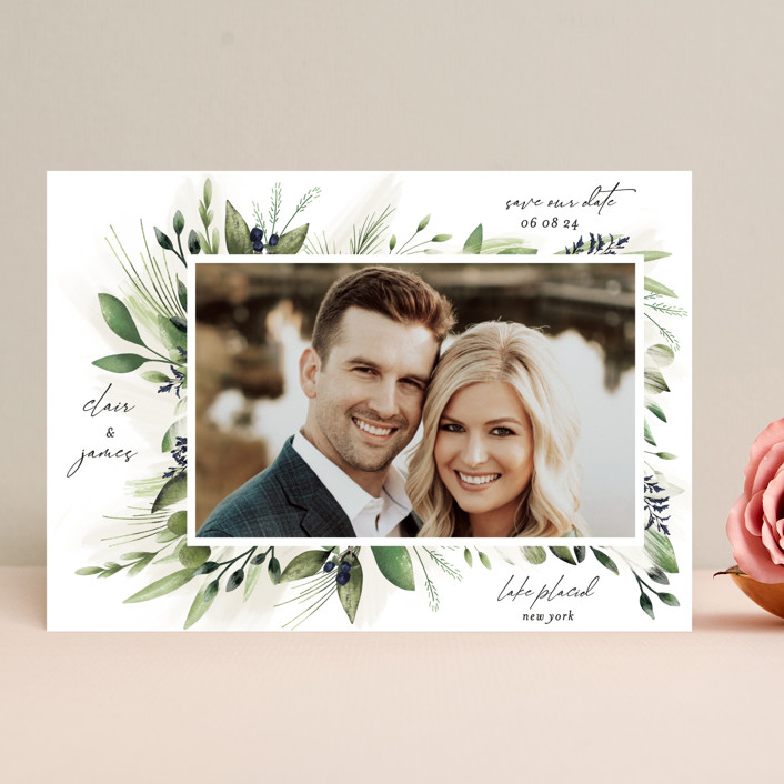 """Nature Love"" - Save The Date Cards in Navy by Susan Moyal."
