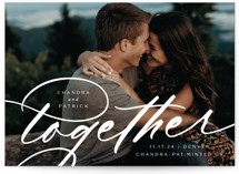 This is a white save the date by Jessica Corliss called Bring us together with standard printing on pearlescent in standard.