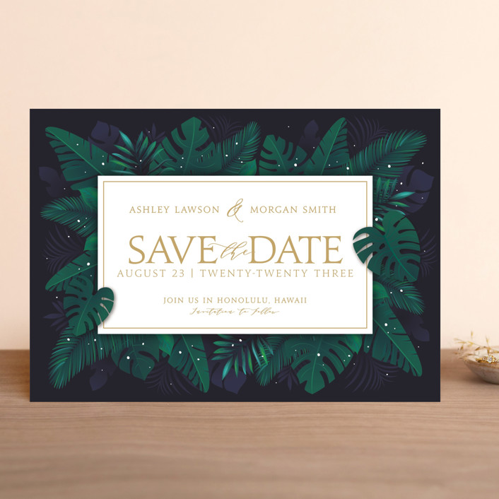 """Paradise"" - Save The Date Cards in Navy by GeekInk Design."