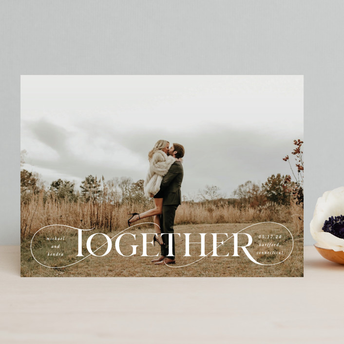 """""""Together Forever"""" - Save The Date Cards in Cream by Kristel Torralba."""