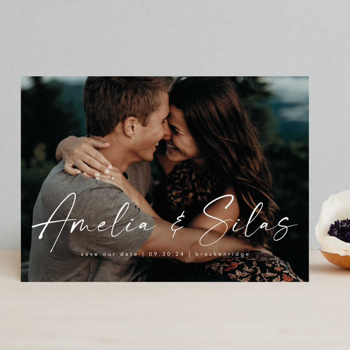 """Because of you"" - Save The Date Cards in Marshmallow by Lea Delaveris."