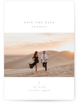 This is a white save the date by chocomocacino called chiffon with standard printing on smooth signature in standard.