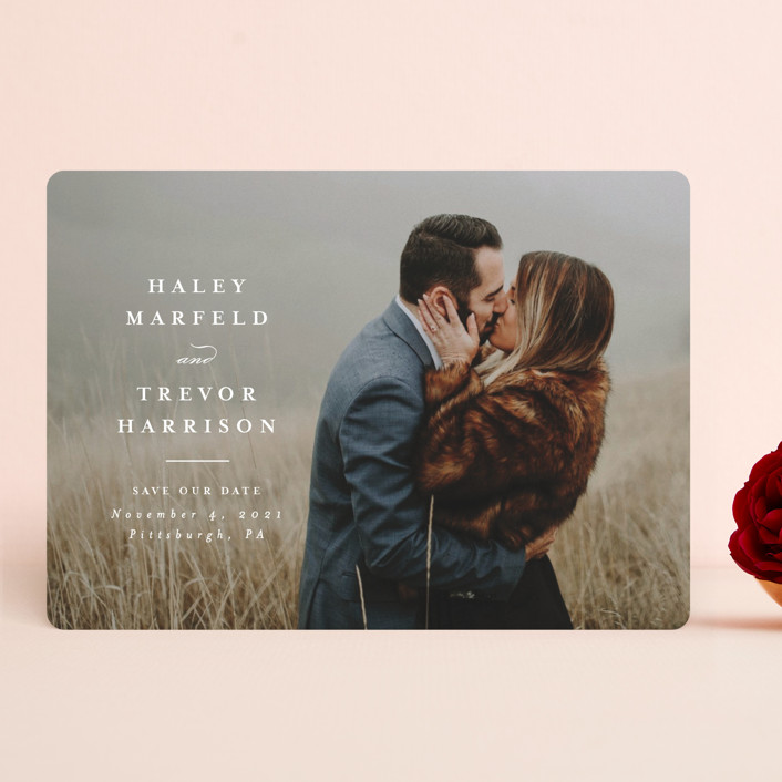 """""""Simple side"""" - Save The Date Cards in Pearl by Lea Delaveris."""