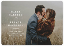 This is a white save the date by Lea Delaveris called Simple side with standard printing on smooth signature in standard.