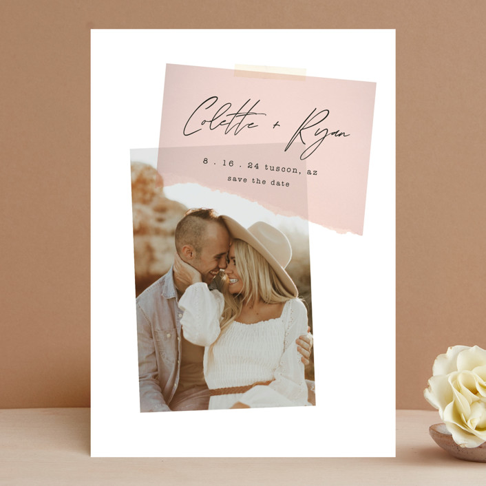 """Keepsake"" - Modern Save The Date Cards in Blush by Morgan Kendall."