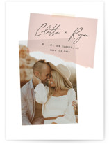 This is a pink save the date by Morgan Kendall called Keepsake with standard printing on pearlescent in standard.