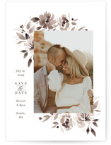 This is a brown save the date by Itsy Belle Studio called sepia with standard printing on signature in standard.