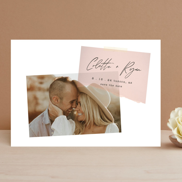 """""""Keepsake"""" - Modern Save The Date Cards in Blush by Morgan Kendall."""