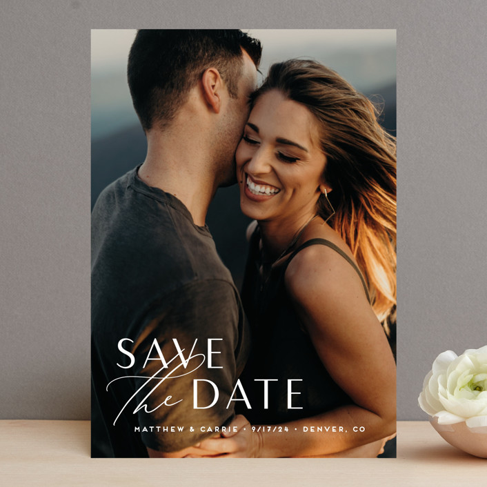 """""""Eloquent"""" - Save The Date Cards in Pearl by Jennifer Postorino."""