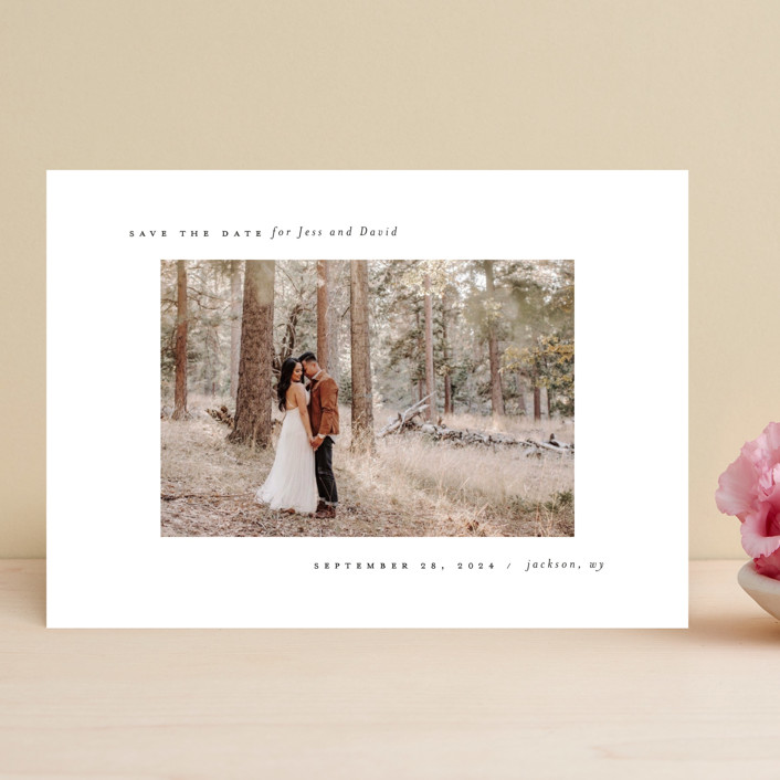 """True Minimalist"" - Save The Date Cards in Moon by Heather Cairl."